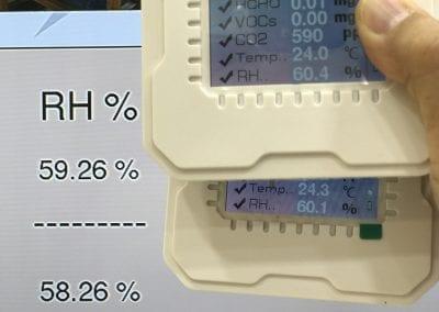 系統調試期間,確認了各台傳感器之間的濕度相差不會多過 1%